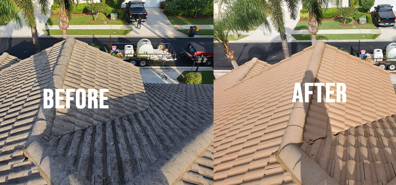 Delray Beach Roof Before and After roof cleaning